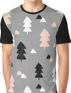 Winter Forest in Pink, Black, White and Gray Graphic T-Shirt