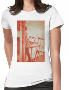 Drawing of woman working on a laptop in a cafe. Illustration  Womens Fitted T-Shirt