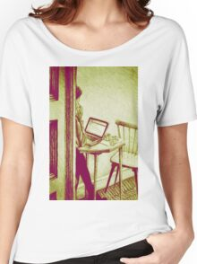 Drawing of woman working on a laptop in a cafe. Illustration  Women's Relaxed Fit T-Shirt