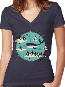 Whales, Penguins and other friends Women's Fitted V-Neck T-Shirt