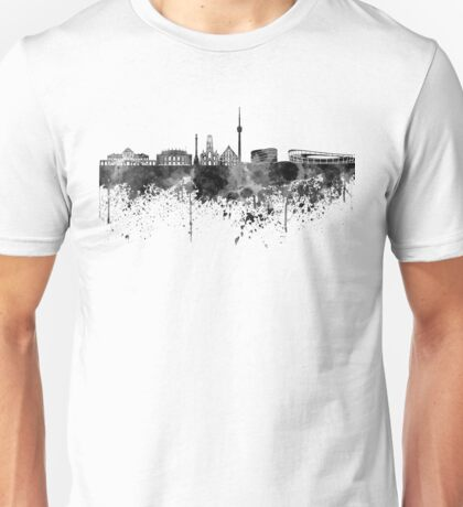 Stuttgart skyline in black watercolor Unisex T-Shirt