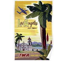 Vintage Los Angeles California Airline Travel Poster Poster