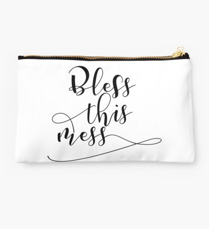 Bless This Mess Black & White Typography Studio Pouch