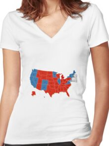 Donald Trump 45th US President - USA Map Election 2016 Women's Fitted V-Neck T-Shirt