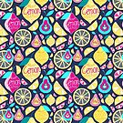 Seamless pattern lemons and pears by Tanor