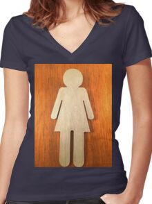 Ladies Women's Fitted V-Neck T-Shirt