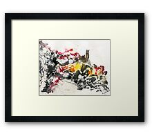 Black, yellow and red abstract Framed Print