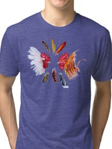Two fighting cocks and feathers Tri-blend T-Shirt