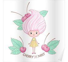 Cherry and mint icecream girl Poster