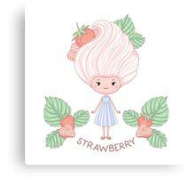 Strawberry ice cream girl Canvas Print