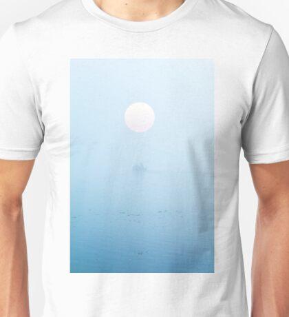 Fisherman on boat in fog Unisex T-Shirt