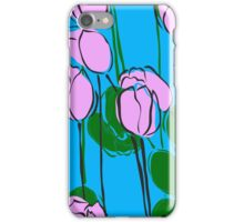 Hand Drawn Pink Tulips on Sky Blue iPhone Case/Skin