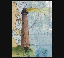 Currituck Beach Lighthouse NC Nautical Chart Cathy Peek Kids Tee