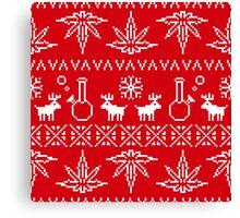 Christmas sweater pixel weed  Canvas Print