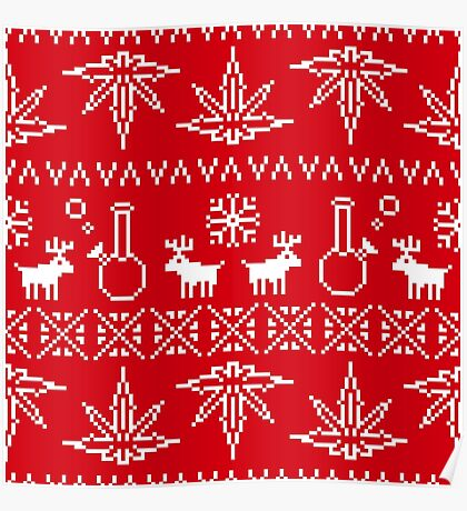 Christmas sweater pixel weed  Poster