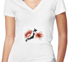 Carte du Japon et fleurs de cerisier, fond blanc Women's Fitted V-Neck T-Shirt