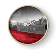 Tower Of London Poppies (Red on Black & White) Clock