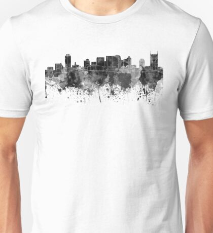 Nashville skyline in black watercolor Unisex T-Shirt