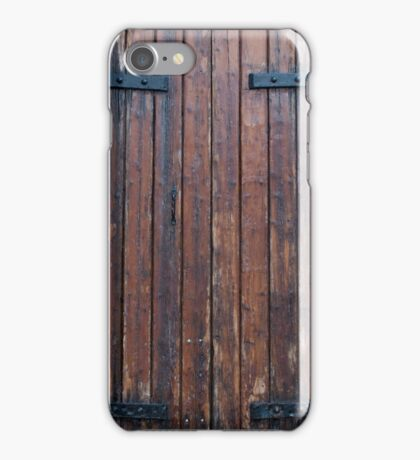 Old Brown Wood Doors With Black Iron Supports iPhone Case/Skin
