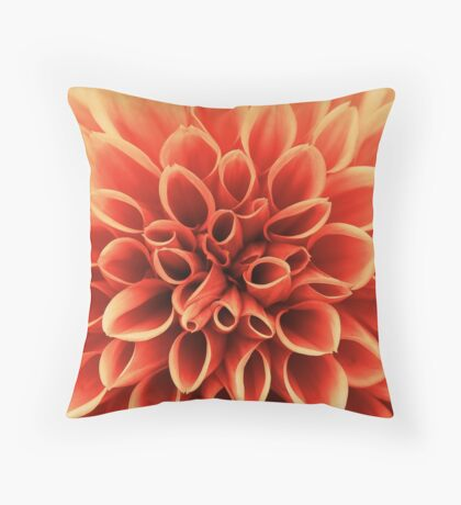 Beautiful Orange Dahlia Flower Throw Pillow