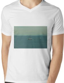 Seagull flies next to a ship Mens V-Neck T-Shirt