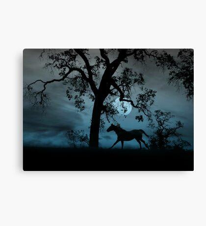 Horse, Moon and Oak Tree Canvas Print