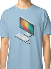 Isometric icon monitor keyboard and mouse Classic T-Shirt