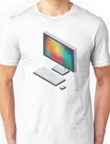 Isometric icon monitor keyboard and mouse Unisex T-Shirt