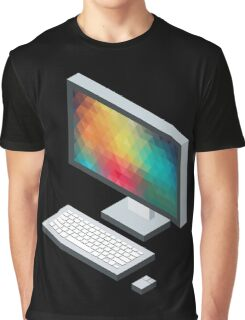 Isometric icon monitor keyboard and mouse Graphic T-Shirt