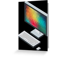 Isometric icon monitor keyboard and mouse Greeting Card