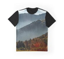 Aerial view of colorful autumnal mountains, foggy sunset, Vosges, Alsace, France Graphic T-Shirt
