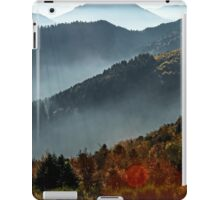 Aerial view of colorful autumnal mountains, foggy sunset, Vosges, Alsace, France iPad Case/Skin