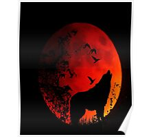 Wolf Howling in the dark for animal lovers Poster