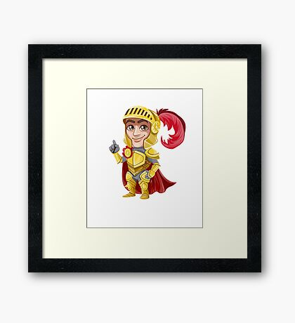 Cute Vector Graphic Warrior  Framed Print