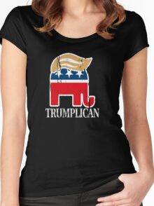 Funny and Bold Trump Elephant with Hair - TRUMPLICAN Women's Fitted Scoop T-Shirt