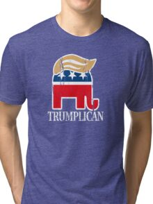 Funny and Bold Trump Elephant with Hair - TRUMPLICAN Tri-blend T-Shirt