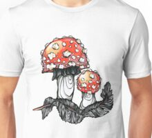 Mushrooms (Amanita muscaria) and a feather. Unisex T-Shirt