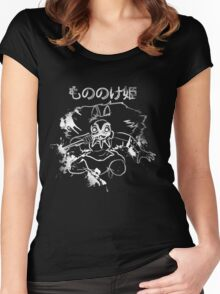 Ink Scroll Wolf Princess Women's Fitted Scoop T-Shirt