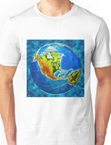 globe, in a center north America Unisex T-Shirt