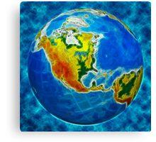 globe, in a center north America Canvas Print