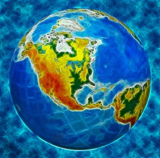 globe, in a center north America by Sergieiev