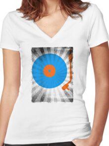 Vinyl Record Pop T-Shirt 2 Women's Fitted V-Neck T-Shirt