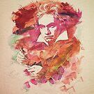 Ludwig van Beethoven Watercolor Remix  by badbugs