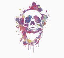 Cool & Trendy Pink Watercolor Skull Kids Tee