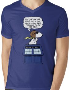 Snoopy and Dr Who Mens V-Neck T-Shirt