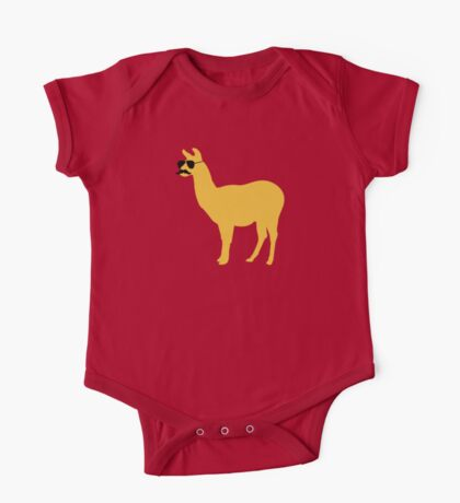 Funny llama with sunglasses and mustache One Piece - Short Sleeve