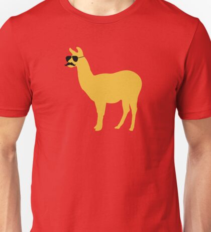 Funny llama with sunglasses and mustache Unisex T-Shirt
