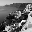 Santorini Cliffs ~ Black & White by Lucinda Walter