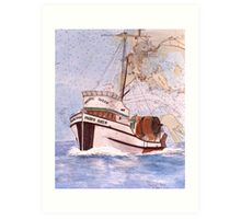 PACIFIC QUEEN Fishing Boat Cathy Peek Nautical Chart Map Art Art Print