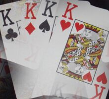 Quad Kings Poker Cards On Layer Pattern. Sticker